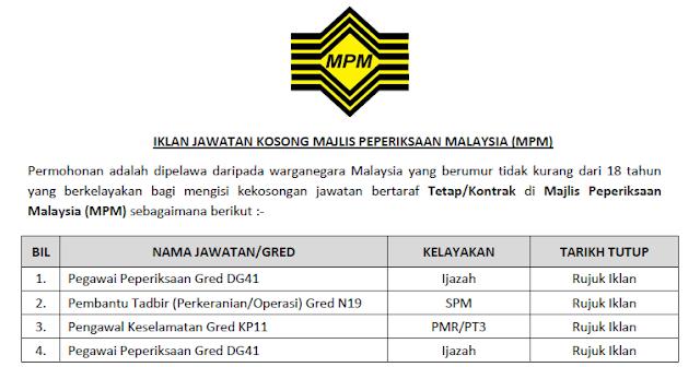 jawatan kosong majlis peperiksaan malaysia 2020