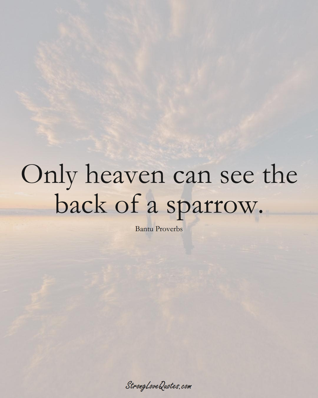 Only heaven can see the back of a sparrow. (Bantu Sayings);  #aVarietyofCulturesSayings