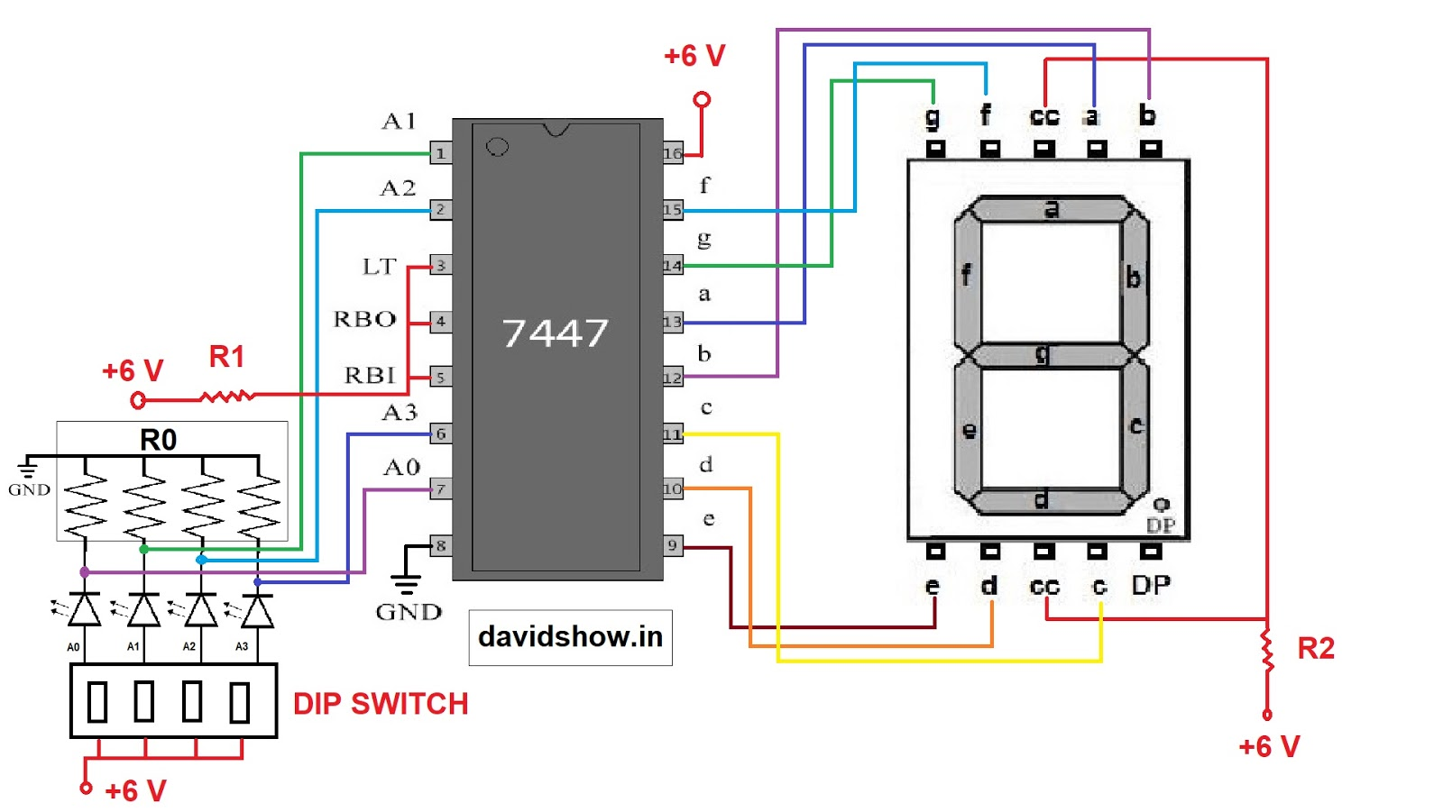 Seven Segment Pin Diagram John Deere Lawn Tractor Ignition Switch Wiring 7447 Display Working David Show