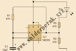 Skematik Rangkaian Flip Flop dengan IC NE555