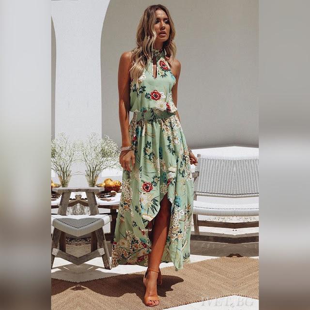 Αμάνικο ασύμμετρο χρωματιστό φόρεμα KARINA