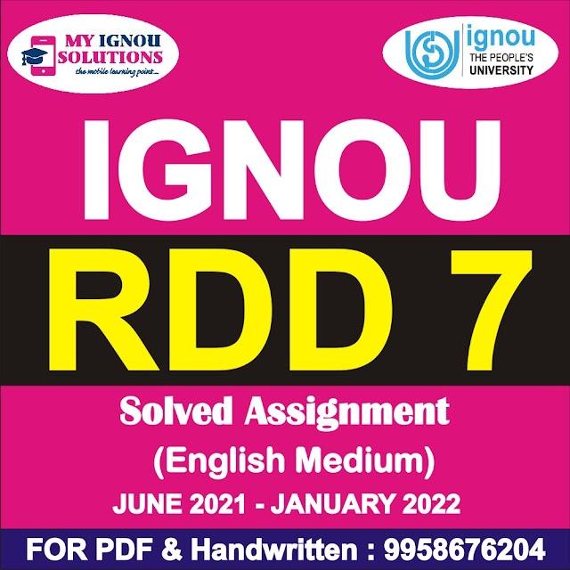 RDD 7 Solved Assignment 2021-22