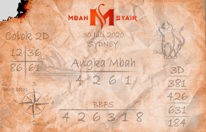 Mbah syair Sydney 30 Juli 2020