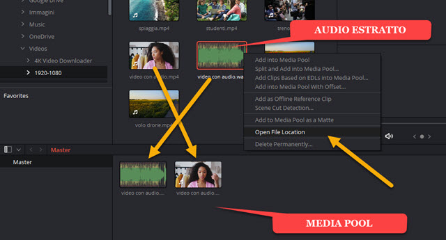 aggiunta file alla media pool