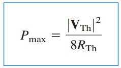Maximum Average Power Transfer Formula