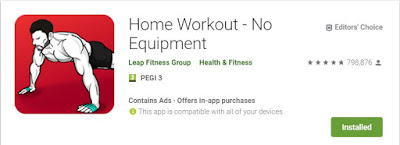 The Home Workout App Icon: a drawing of a shirtless man in a plank position