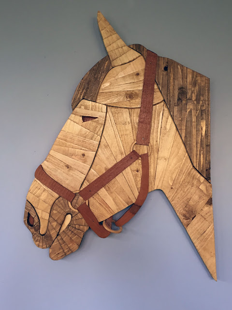 Horse wooden wall art using recycled wood made by ian davy brown