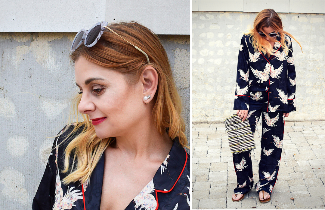 Streetstyle mit Pyjama Anzug, dunkler Pyjama für Frauen