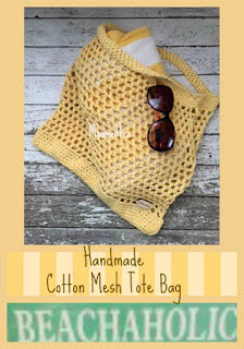 Market Bag - Reusable Grocery Bag- Yellow Cotton Tote - Produce Bag - Shopping Sack - Carry All Beach Bag - Mesh Shopping Tote Bag Handmade
