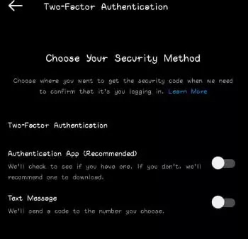 Two-Factor Authentication in Instagram