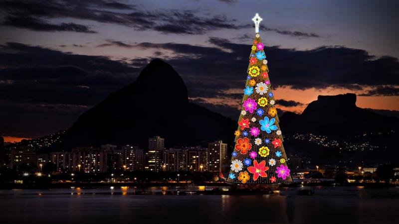 Floating Christmas tree — Rio de Janeiro, Brazil