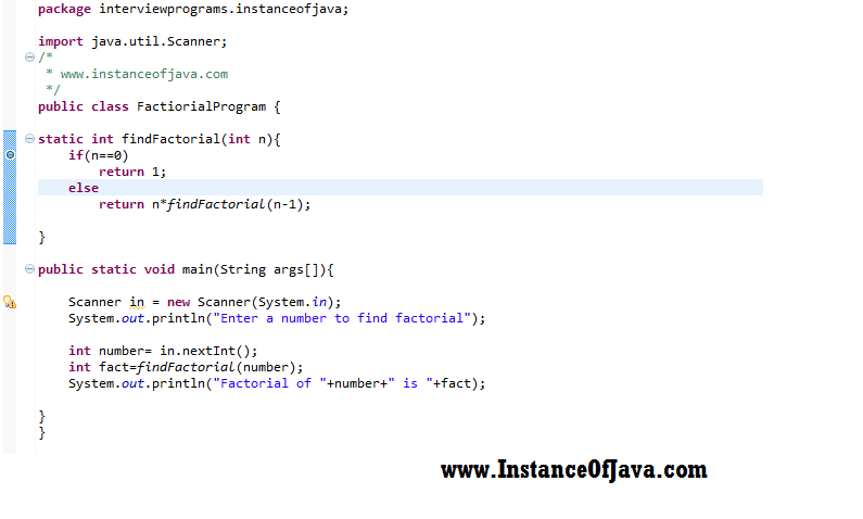 factorial number method java