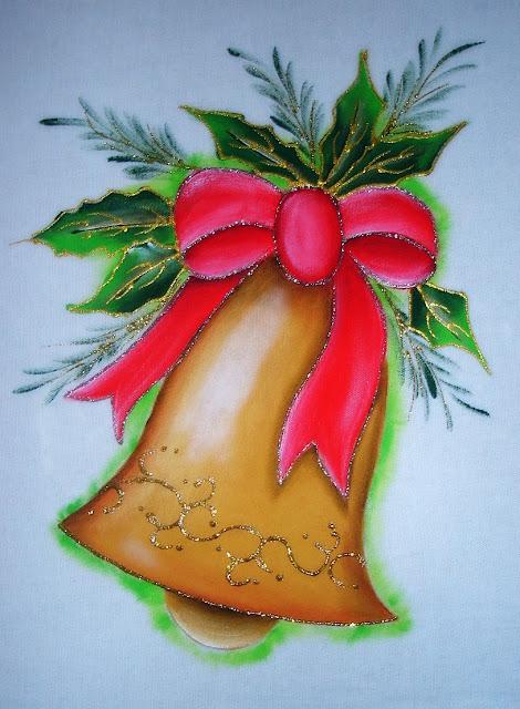 pintura em tecido  motivo natalino sino