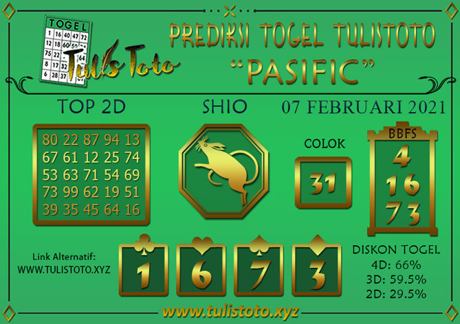 Prediksi Togel PASIFIC TULISTOTO 07 FEBRUARI 2021