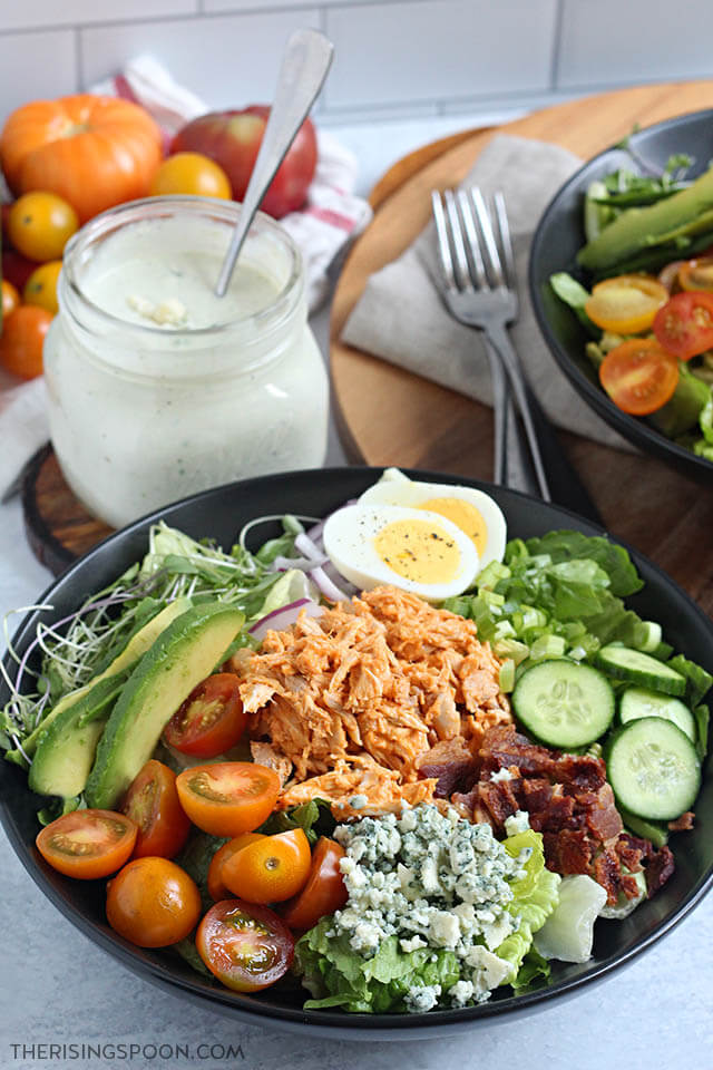Quick & Easy Buffalo Chicken Cobb Salad with Homemade Blue Cheese Dressing
