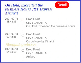 On hold,exceeded the business hours J&T Express artinya