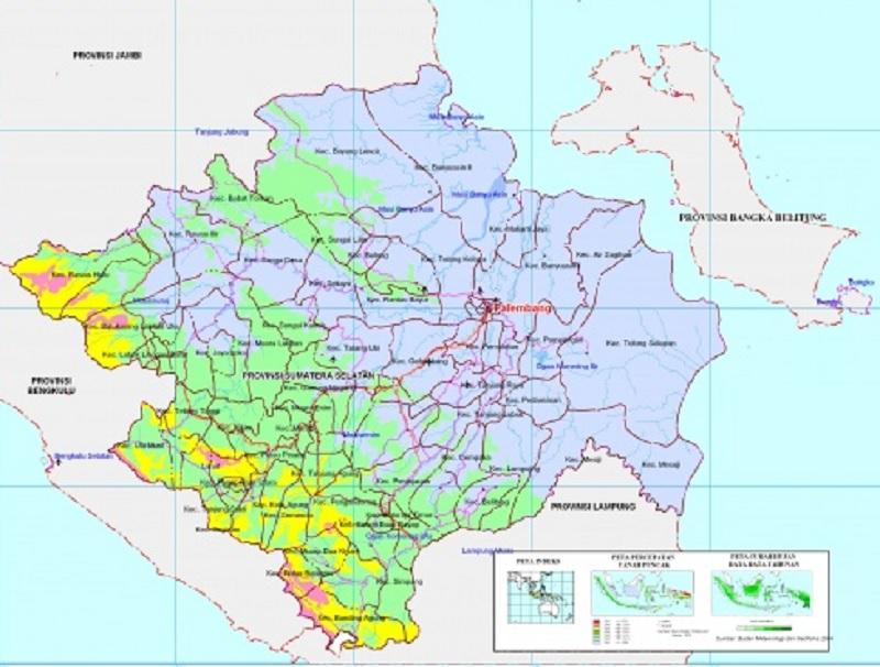 Peta Sumatera Selatan HD Terbaru