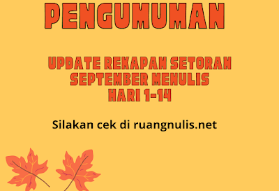 Update Rekap Setoran September Menulis