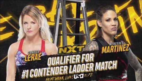 كانديس ليراي ضد مرسيدس مارتينيز والفائزة تتأهل لعرض NXT تيك اوفر تامبا