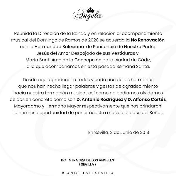 Despojado de Cádiz no seguirá con BCT de Los Ángeles de Sevilla en el 2020