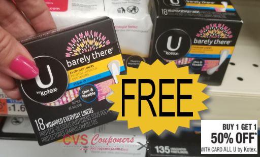 FREE U by Kotex liners CVS Deal