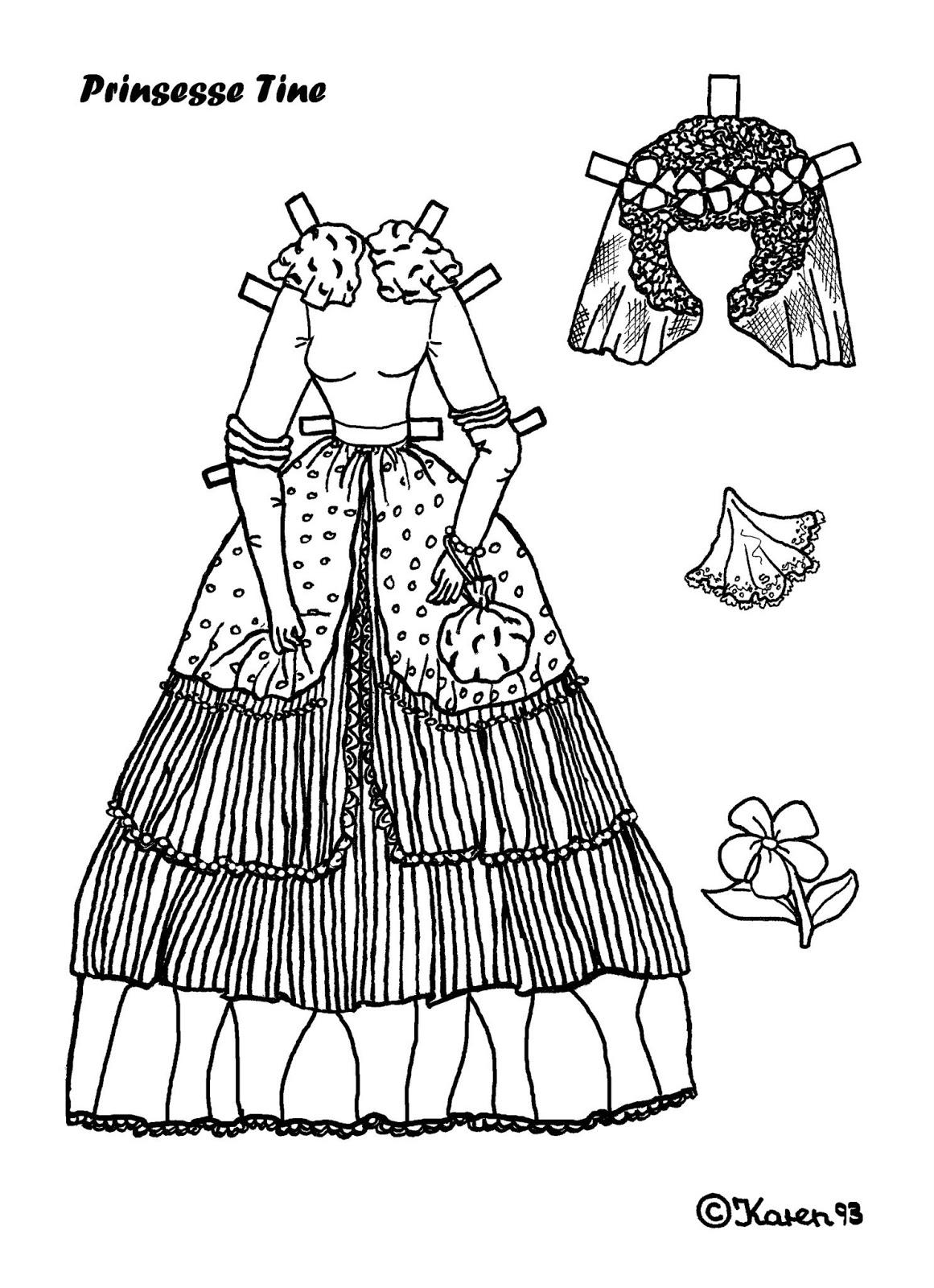 Karen`s Paper Dolls: Tine 1-4 Princess Paper Doll to Print