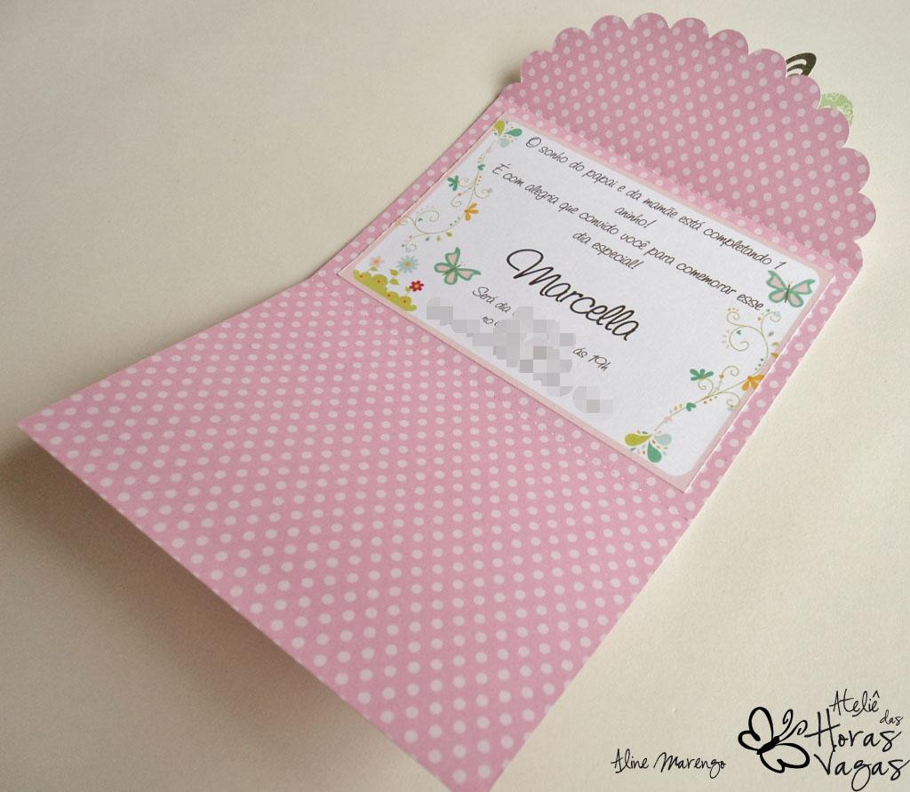 convite pesonalizado artesanal envelope jardim borboleta flores rosa 1 aninho menina