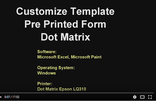 DIY customize template pre printed Form dot matrix database excel