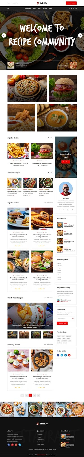 Food Recipe HTML Template