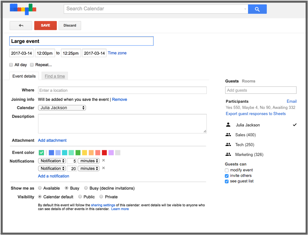 Better manage large events in Google Calendar