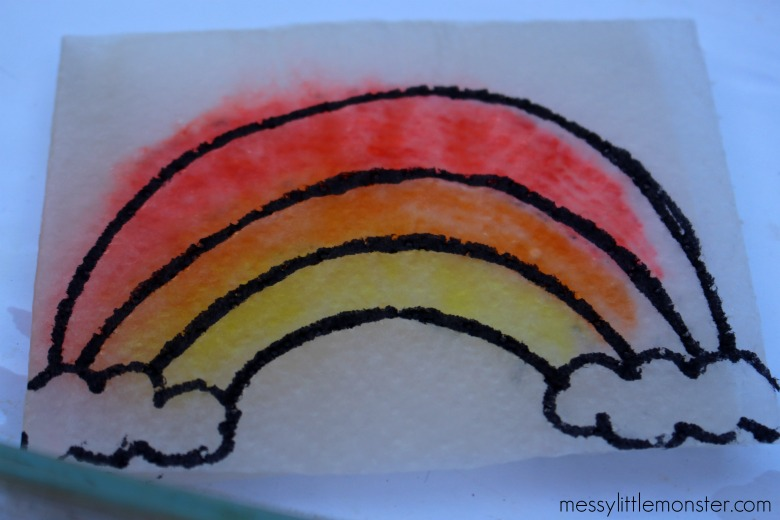 paper towel rainbow activity - colour surprise picture