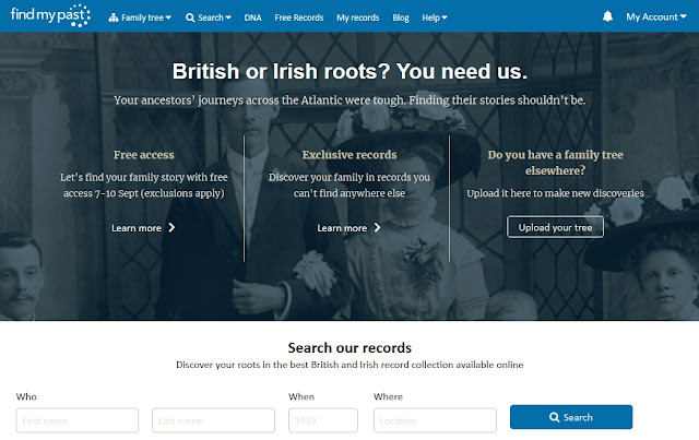 Findmypast.com starting page