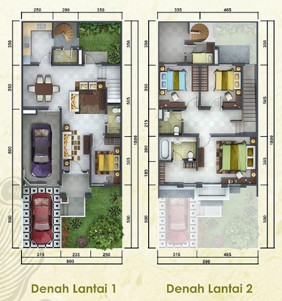 LINGKAR WARNA: 5 Denah Rumah Minimalis Ukuran 8x18 Meter 5 Kamar Tidur 2  Lantai + Tampak Depan