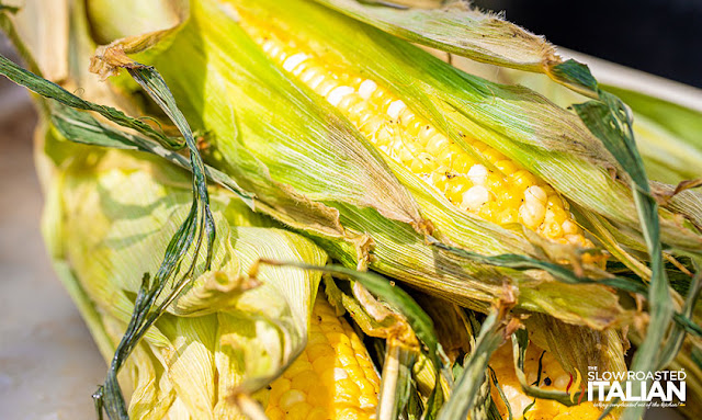 Smoked corn on the cob finished cooking
