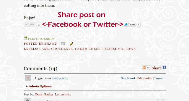 A demonstration on how to share posts from the website to Facebook and Twitter