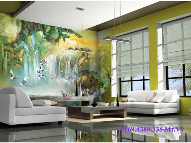 tranh tường phòng khách bằng vẽ tranh tường