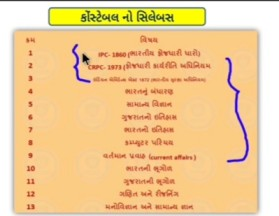 Gujarat police constable bharti subjects