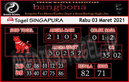 Prediksi Togel Bangbona Singapura Rabu 03 Maret 2021