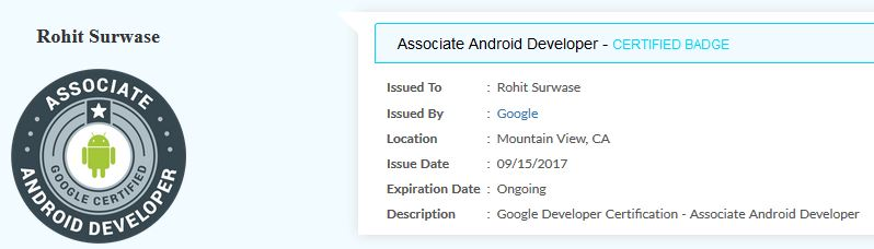 My Android Developer Certificate by Google