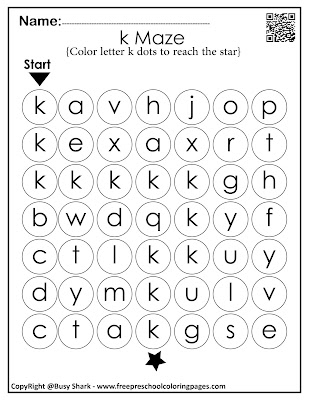 Letter K dot markers free preschool coloring pages ,learn alphabet ABC for toddlers