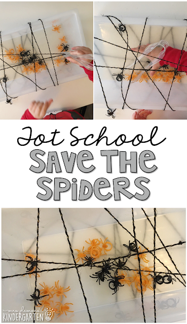 We LOVE this save the spiders sensory bin. Great for tot school, preschool, or even kindergarten!