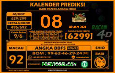Kalender Prediksi Bacan4D Macau Kamis 08 Oktober 2020