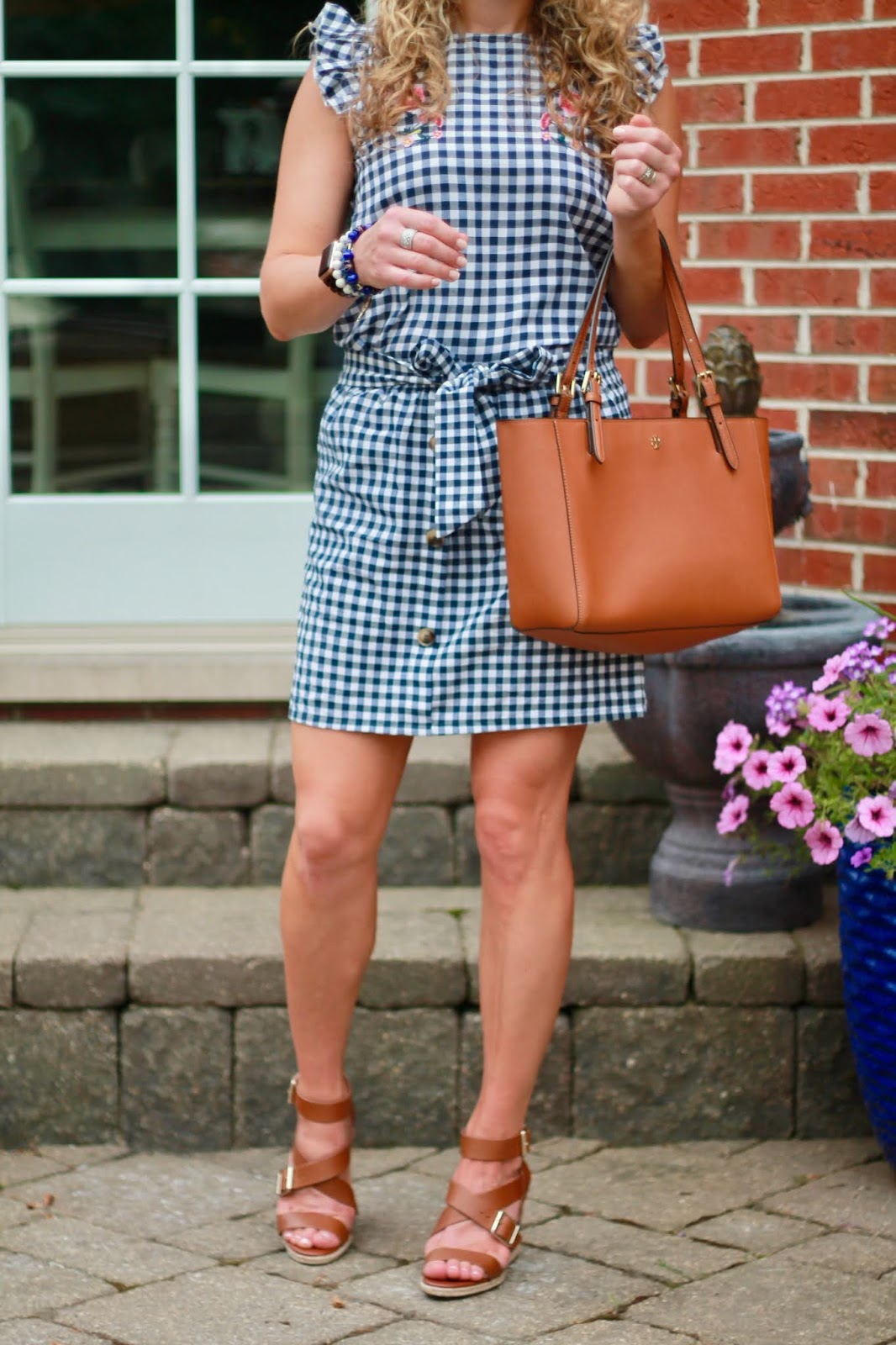 embroidered gingham top, gingham skirt, cognac leather sandals, Tory Burch tote, summer gingham outfit