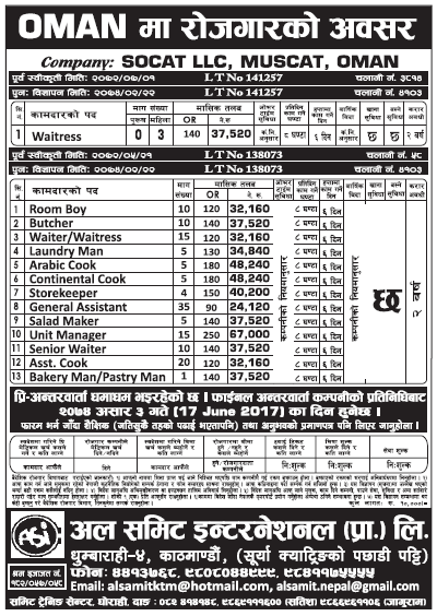 Jobs in OMAN for Nepali, Salary Rs 48,240