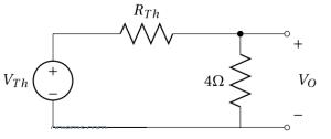 Remplacement du circuit équivalent de Thevenin