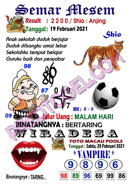 Syair Toto Macau Semar Mesem Sabtu 20 Februari 2021
