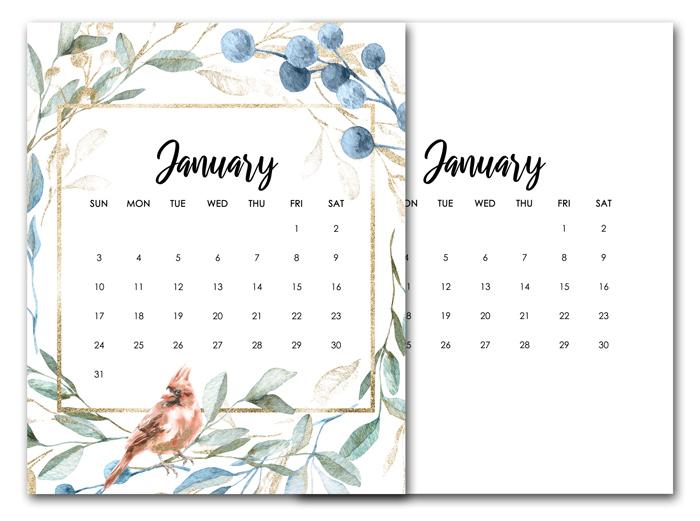 Free January Calendar Printables