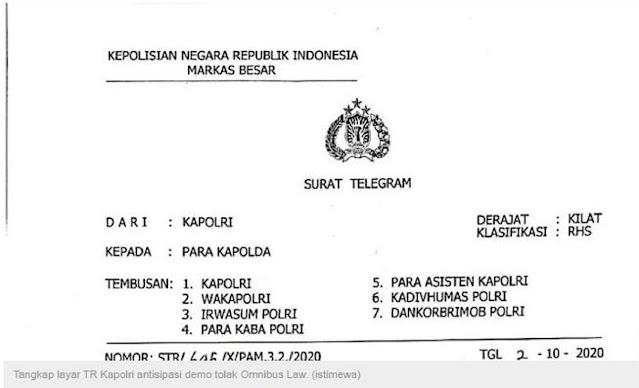 Viral! TR Kapolri Cegah Demo Buruh Tolak Omnibus Law, Netizen: Wuih Ngeri