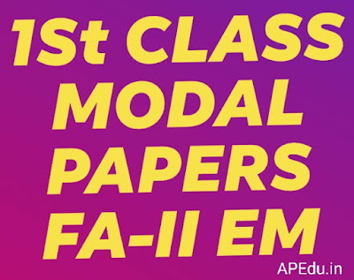 1st Class all subjects  FA-II Modal papers for English medium