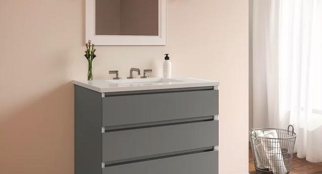 Modern, clean lines define this dark gray vanity by Robern.